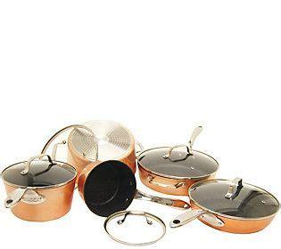 starfrit  piece copper cookware set qvccom copper cookware set cookware set copper
