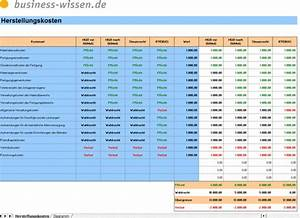 Excel Tabelle Summe Berechnen : herstellungskosten berechnen checkliste business ~ Themetempest.com Abrechnung
