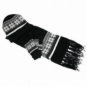Womenu002639s Chenille Snowflake Hat Gloves And Scarf Set Ebay