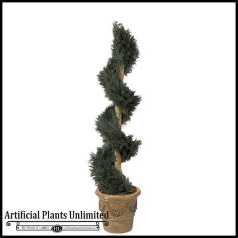 Artificial Spiral Topiary Bushes, Fake Outdoor Spiral