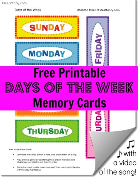 printable days   week cards video song