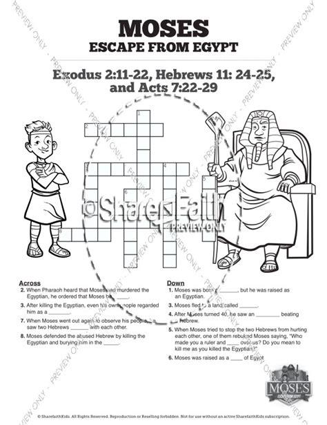 exodus  moses escapes  egypt sunday school crossword