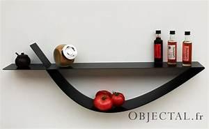 Accessoire Cuisine Design : etag re murale noire tag re design m tal tablette murale moderne ~ Teatrodelosmanantiales.com Idées de Décoration