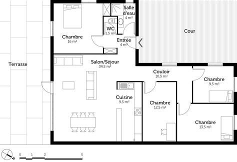 plans maisons plain pied 3 chambres plan maison en l de plain pied avec 3 chambres ooreka
