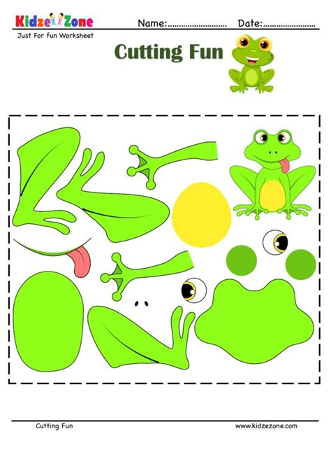 cutting  pasting activity  frog kidzezone