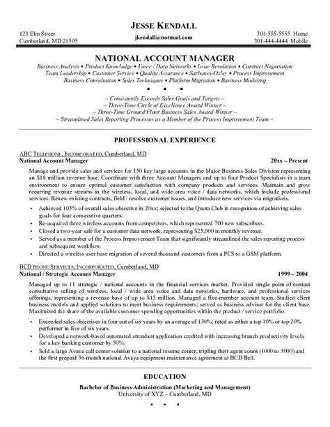 National Account Manager Resume Template by Excellent Resume Account Management Search
