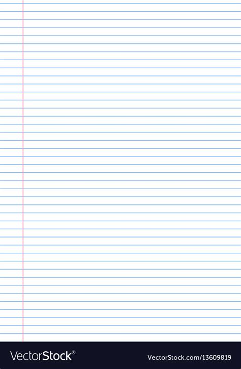 Notebook Paper Template Notebook Paper Background Template With Royalty Free Vector
