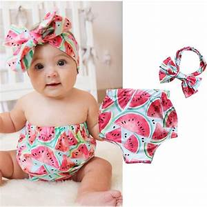Cute Newborn Infant Baby Girl Watermelon Tops Romper Headband Outfits Clothes | eBay