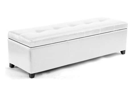 banquette coffre en simili cuir coloris blanc 140 cm