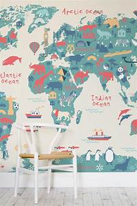 Educational Map Wallpapers: The Perfect Kids' Bedroom Idea
