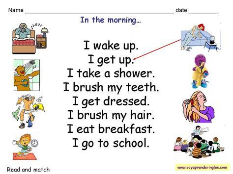 worksheets routines  fichas las rutinas en ingles