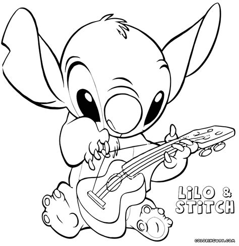 cute stitch coloring pages easy  print coloring
