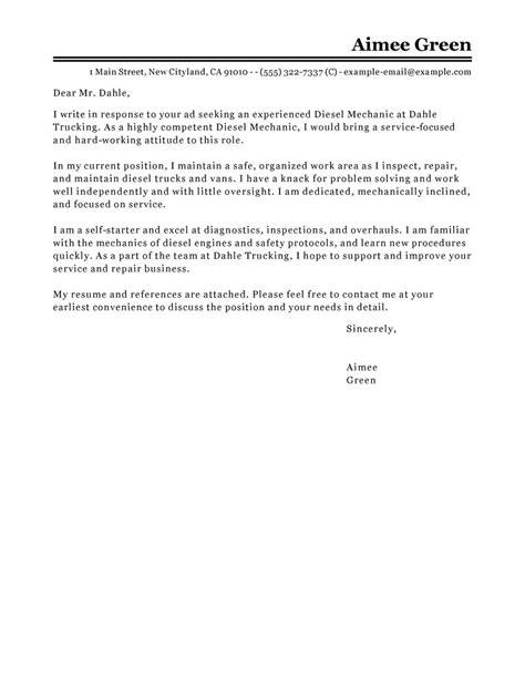 Diesel Mechanic Resume Cover Letter by Best Diesel Mechanic Cover Letter Exles Livecareer