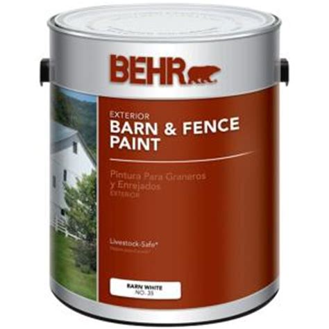 behr 1 gal white exterior barn and fence paint 03501 the home depot