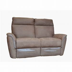 canape 2 places tissu beige et blanc relax electrique With canapé 2 places relax électrique tissu