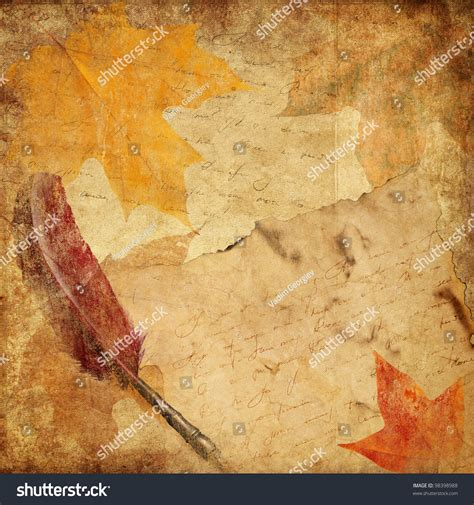 background for letters vintage background letter autumn leaves stock photo