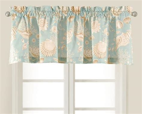 Natural Shells taupe and aqua shell valance from C&F