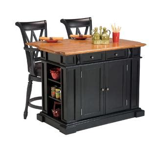 Home Styles Kitchen Island And Two Deluxe Bar Stools