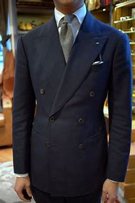Navy Blue Double Breasted Suit Jacket