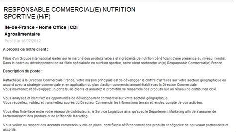 offre d emploi cadre commercial offre d emploi de responsable commercial en nutrition sportive