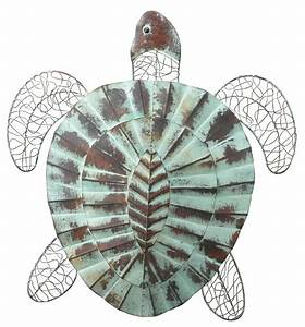 Nautical coastal rustic sea turtle wall decor indoor
