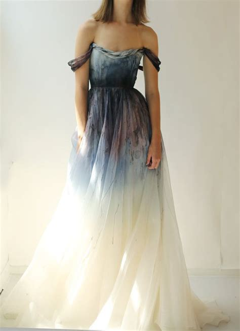 sale hand painted  dyed silk organza gown  leanimal