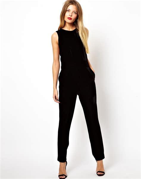 glamorous jumpsuit in velvet in black lyst