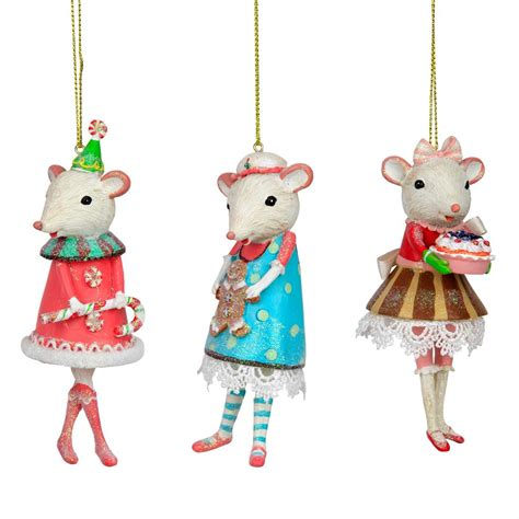 set of 3 white mouse ballerina christmas tree ornaments