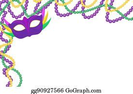 clip art vector mardi gras beads colored frame isolated