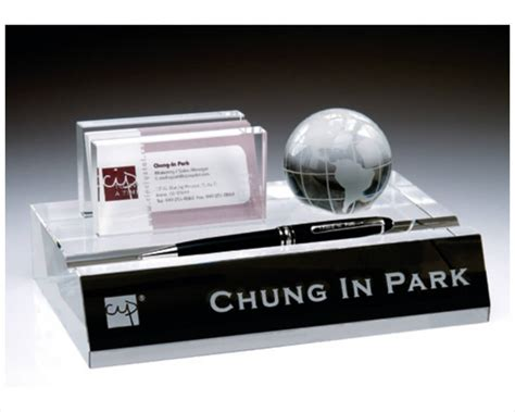 custom desk name plate card holder engraved crystal name plate business card pen holder