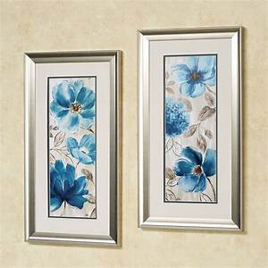 blue garden floral framed wall art set With floral wall art