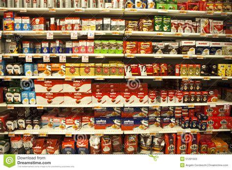 shelf of coffee packs of coffee shelves an italian supermarket editorial