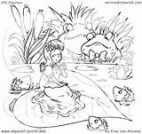 Coloring Thumbelina Outline Clipart Royalty Illustration Bannykh Alex Rf sketch template