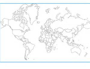 Blank Outline World Map with Countries