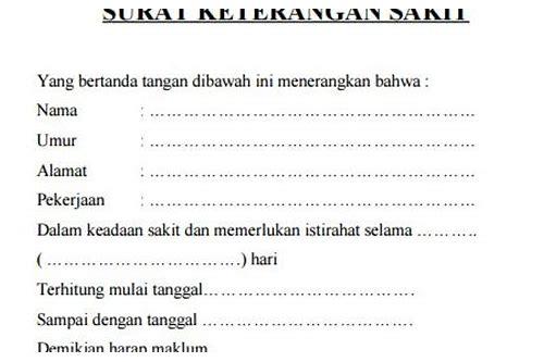 Surat Keterangan Sakit Dari Dokter Doc Suratmenuhargacom