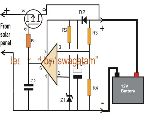 Solar Panel Battery Charger Circuit Diagram