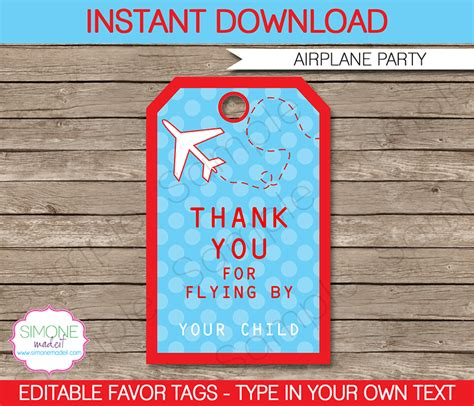 airplane party favor tags   tags birthday party