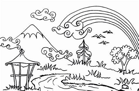 gambar mewarnai gunung 79 lomba mewarnai pemandangan
