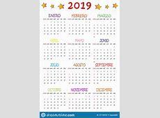 Calendario 2019 Per I Bambini 2019 Stock Vector