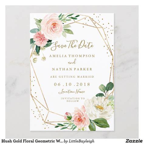 Blush Gold Floral Geometric Wedding Save The Date Zazzle
