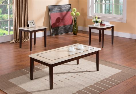 This coffee table set is designed with an elegant rounded metal frame and a genuine marble top that creates a welcoming feeling and provides ample space to put drinks or decor on top. Kings Brand Faux Marble Top Occasional Table Set Coffee Table and 2 End Tables | eBay