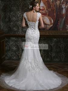 Sparkly mermaid straps cap sleeves court train backless for Mermaid sparkly wedding dresses