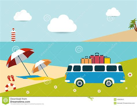 Summer Sunny Beach Day. Stock Vector. Illustration Of