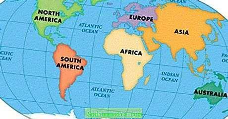 Hav og kontinenter, deres navn, plassering på kartet ...