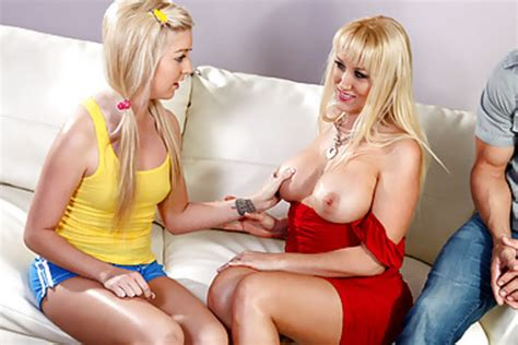busty blonde mom and her husband having awesome threesom xxx dessert