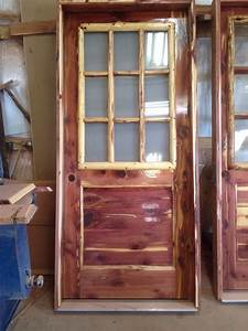 Rustic, Red, Aromatic, Cedar, Entry, Door, With, Log, Window, Frame, And, Frosted, Glass