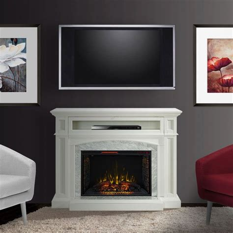 Fireplace Tv Pictures by Drew Infrared Electric Fireplace Tv Stand In White Cs