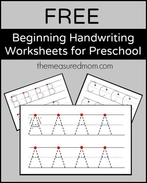 free beginning handwriting worksheets for preschool the
