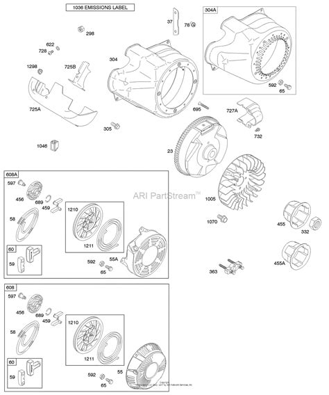 204412 Engine Diagram by Briggs And Stratton 204412 0147 E1 Parts Diagram For