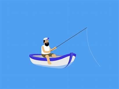 Fisherman Unlucky Fishing Happy Dribbble Garbage Illustrator